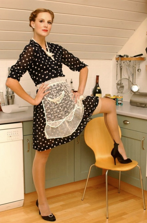 Gear alert: Polka dot shirtwaist dress smart, sheer apron? What the hell.