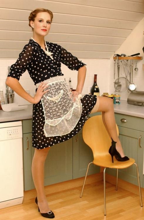 Gear alert: Polka dot shirtwaist dress smart, sheer apron? What the hell.